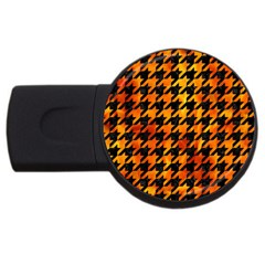 Houndstooth1 Black Marble & Fire Usb Flash Drive Round (2 Gb) by trendistuff