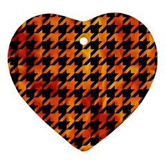 Houndstooth1 Black Marble & Fire Heart Ornament (two Sides) by trendistuff