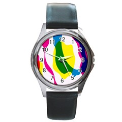 Anatomicalrainbow Wave Chevron Pink Blue Yellow Green Round Metal Watch by Mariart