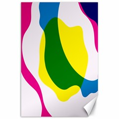Anatomicalrainbow Wave Chevron Pink Blue Yellow Green Canvas 24  X 36  by Mariart