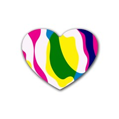 Anatomicalrainbow Wave Chevron Pink Blue Yellow Green Rubber Coaster (heart)  by Mariart
