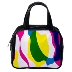 Anatomicalrainbow Wave Chevron Pink Blue Yellow Green Classic Handbags (one Side) by Mariart