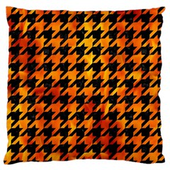 Houndstooth1 Black Marble & Fire Standard Flano Cushion Case (two Sides) by trendistuff