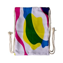 Anatomicalrainbow Wave Chevron Pink Blue Yellow Green Drawstring Bag (small) by Mariart