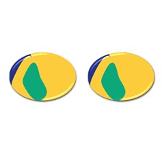 Yellow Green Blue Cufflinks (oval) by Mariart