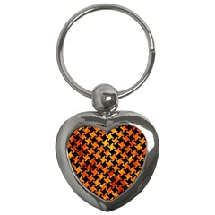 Houndstooth2 Black Marble & Fire Key Chains (heart)  by trendistuff