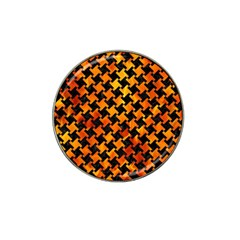 Houndstooth2 Black Marble & Fire Hat Clip Ball Marker by trendistuff