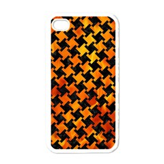 Houndstooth2 Black Marble & Fire Apple Iphone 4 Case (white) by trendistuff