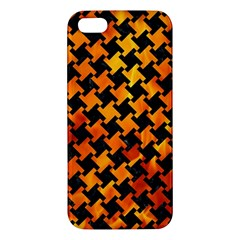 Houndstooth2 Black Marble & Fire Apple Iphone 5 Premium Hardshell Case by trendistuff