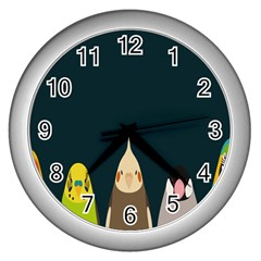 Animals Lovebird Walnut Peacock Parrots Birds Wall Clocks (silver)  by Mariart