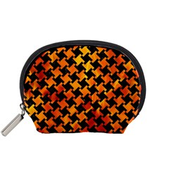 Houndstooth2 Black Marble & Fire Accessory Pouches (small)  by trendistuff
