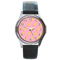 Banana Fruit Yellow Pink Round Metal Watch by Mariart