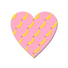 Banana Fruit Yellow Pink Heart Magnet by Mariart