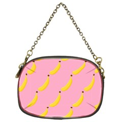 Banana Fruit Yellow Pink Chain Purses (two Sides)  by Mariart