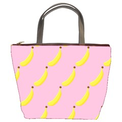Banana Fruit Yellow Pink Bucket Bags by Mariart
