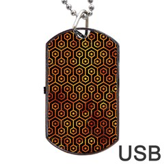 Hexagon1 Black Marble & Fire Dog Tag Usb Flash (one Side) by trendistuff