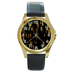 Animated Falling Spinning Shining 3d Golden Dollar Signs Against Transparent Round Gold Metal Watch