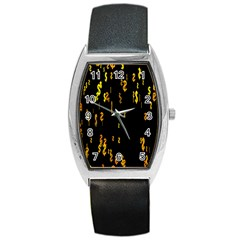 Animated Falling Spinning Shining 3d Golden Dollar Signs Against Transparent Barrel Style Metal Watch by Mariart