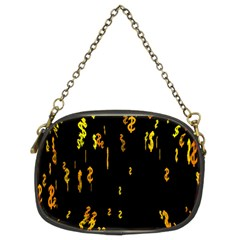 Animated Falling Spinning Shining 3d Golden Dollar Signs Against Transparent Chain Purses (two Sides)
