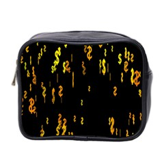 Animated Falling Spinning Shining 3d Golden Dollar Signs Against Transparent Mini Toiletries Bag 2 Side by Mariart