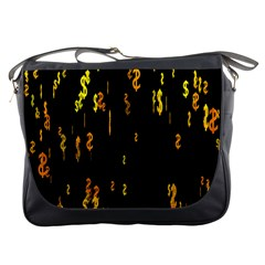 Animated Falling Spinning Shining 3d Golden Dollar Signs Against Transparent Messenger Bags by Mariart