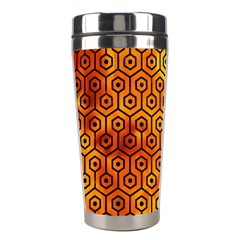 Hexagon1 Black Marble & Fire (r)hexagon1 Black Marble & Fire (r) Stainless Steel Travel Tumblers by trendistuff