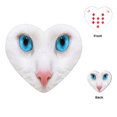Beautiful White Face Cat Animals Blue Eye Playing Cards (heart)  by Mariart