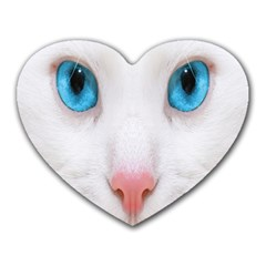 Beautiful White Face Cat Animals Blue Eye Heart Mousepads by Mariart