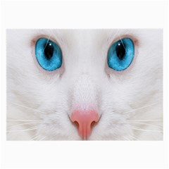 Beautiful White Face Cat Animals Blue Eye Large Glasses Cloth by Mariart