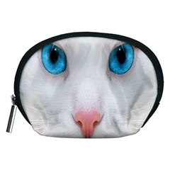 Beautiful White Face Cat Animals Blue Eye Accessory Pouches (medium)