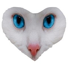 Beautiful White Face Cat Animals Blue Eye Large 19  Premium Flano Heart Shape Cushions by Mariart
