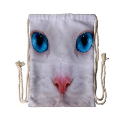 Beautiful White Face Cat Animals Blue Eye Drawstring Bag (small) by Mariart