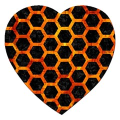 Hexagon2 Black Marble & Fire Jigsaw Puzzle (heart) by trendistuff