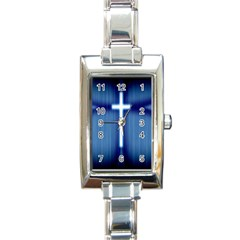 Blue Cross Christian Rectangle Italian Charm Watch by Mariart