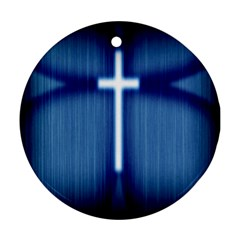 Blue Cross Christian Ornament (round)