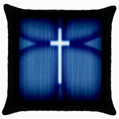 Blue Cross Christian Throw Pillow Case (black) by Mariart