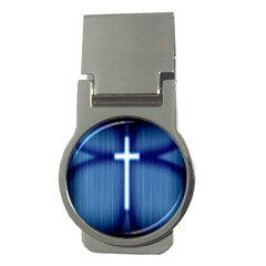 Blue Cross Christian Money Clips (round)  by Mariart