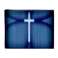 Blue Cross Christian Cosmetic Bag (xl) by Mariart