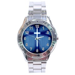 Blue Cross Christian Stainless Steel Analogue Watch by Mariart