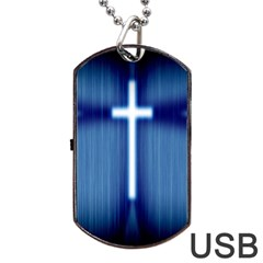 Blue Cross Christian Dog Tag Usb Flash (two Sides) by Mariart