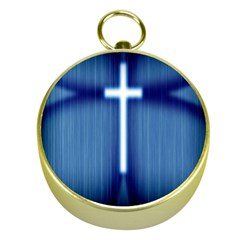 Blue Cross Christian Gold Compasses