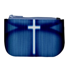 Blue Cross Christian Large Coin Purse by Mariart