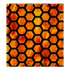 Hexagon2 Black Marble & Fire (r) Shower Curtain 66  X 72  (large)  by trendistuff
