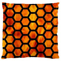 Hexagon2 Black Marble & Fire (r) Large Cushion Case (two Sides) by trendistuff