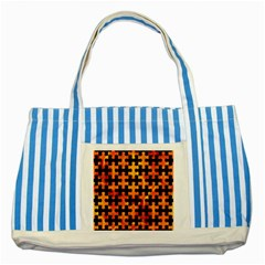 Puzzle1 Black Marble & Fire Striped Blue Tote Bag by trendistuff