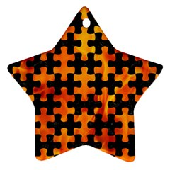 Puzzle1 Black Marble & Fire Star Ornament (two Sides) by trendistuff