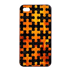 Puzzle1 Black Marble & Fire Apple Iphone 4/4s Seamless Case (black) by trendistuff