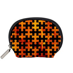 Puzzle1 Black Marble & Fire Accessory Pouches (small)  by trendistuff