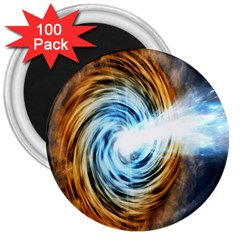 A Blazar Jet In The Middle Galaxy Appear Especially Bright 3  Magnets (100 Pack) by Mariart
