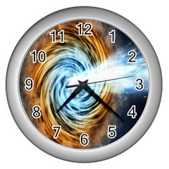 A Blazar Jet In The Middle Galaxy Appear Especially Bright Wall Clocks (silver)
